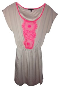 Express Formal Cocktail Office Work Casual Vintage Pink Scoop Neck Lace Dress