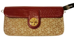 DKNY red and tan Clutch