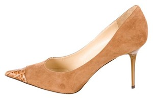 Jimmy Choo Alias Suede Carmel Brown Pumps