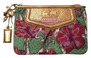 Coach Wristlet in Floral & Gold
