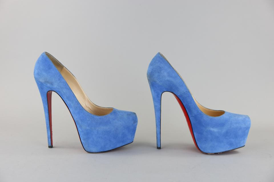 0e13f491fe9 Christian Louboutin Blue Suede Highness Platform Pumps Size US 11 Regular  (M, B) 35% off retail