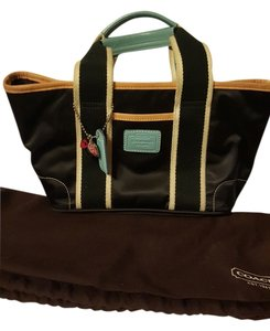 Coach Tote in black white and aqua