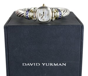 David Yurman * 14k Gold and Silver With Amethyst Cable Lolite Swiss Quartz Watch