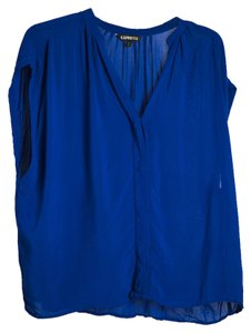 Express Semi Casual Button Up Flowy Drape Top Royal Blue
