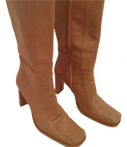 Sara Jordan Leather High Heel Size 8 B Tan Boots