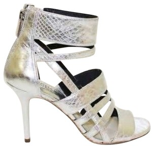 Michael Kors New Stiletto Pump Sexy Style Designer Metallic Snake Animal Print Type Open Toe Box Silver Sandals
