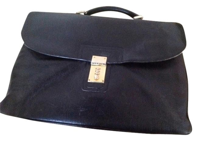 Item - Black Leather /Gold Metal Laptop Bag