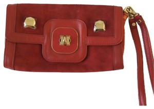Longchamp Clutch Removable Leather Studded Wristlet in Red