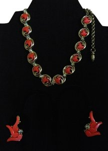 Orange Coral Thermoset Crystal Choker and Earring Set Orange Coral Thermoset Crystal Choker and Earring Set