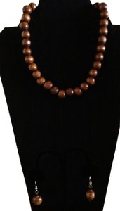 Wood Beads Choker and Earring Jewelry Set