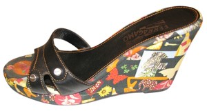 Salvatore Ferragamo Animal Print Leather Black Leather Wedges