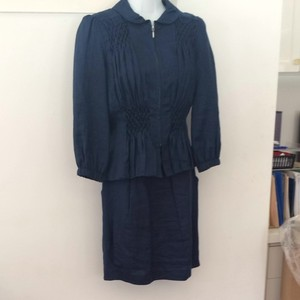 Other Navy Linen Skirt Suit