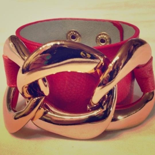 Other Rose gold and red leather cuff