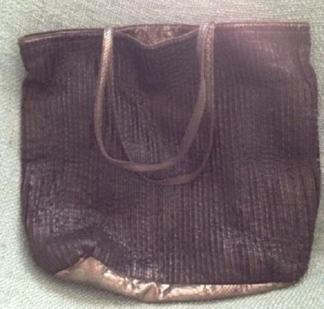 Item - Squared Snake Leather Like Black and Grey Silver Tote