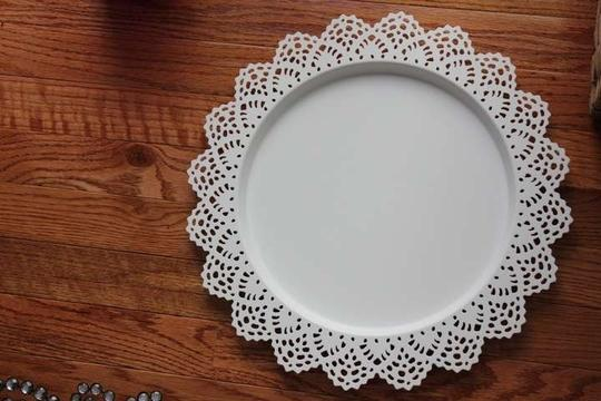 White 10 Lace Chargers Charger Plates Reception Decoration