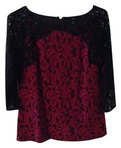 Ann Taylor Trim Top Red & Black Lace