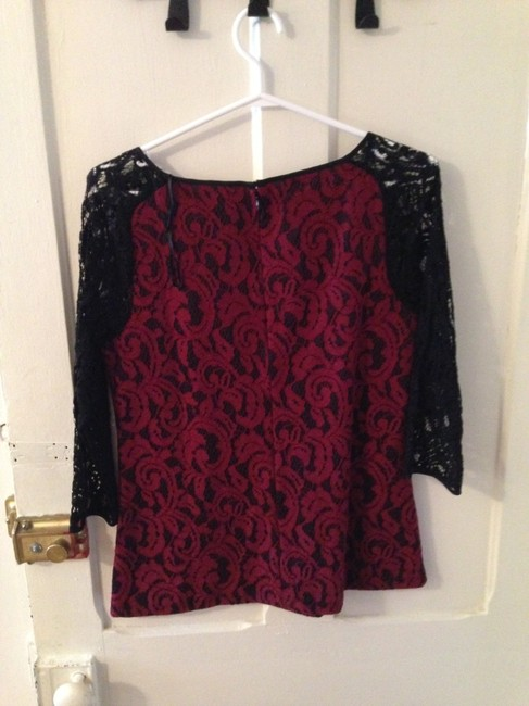 Ann Taylor Trim Structured Top Red & Black Lace