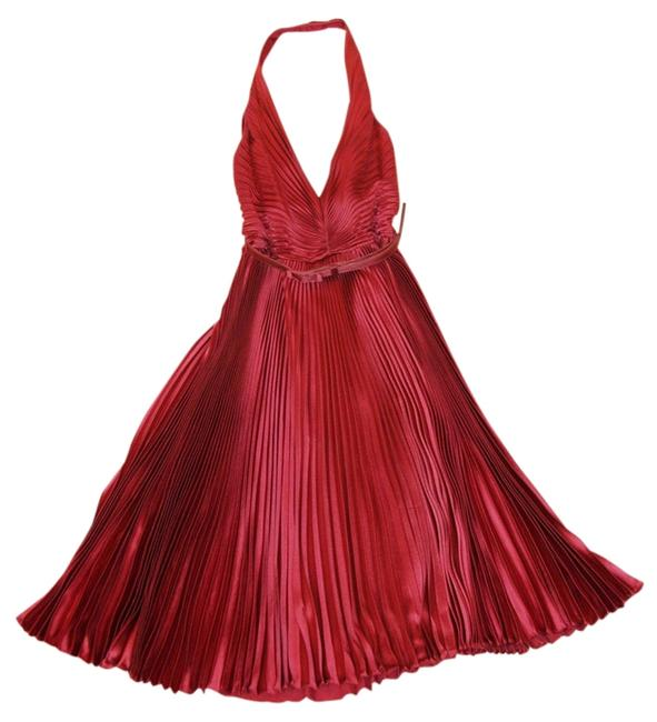 Carmen Marc Valvo Halter Pleated Dress