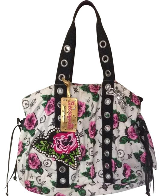 Item - White and Pink Floral Tote