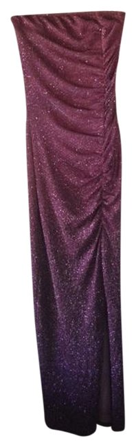 Preload https://img-static.tradesy.com/item/795700/xoxo-purple-sparkle-homecoming-fitted-stretchy-strapless-long-formal-dress-size-4-s-0-0-650-650.jpg