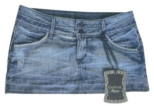 Bebe Frayed Denim New Mini Skirt Blue