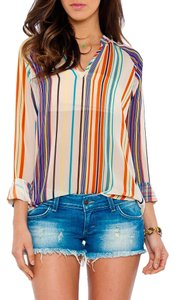 Rory Beca Striped Color Sheer Longsleeve Top Multi