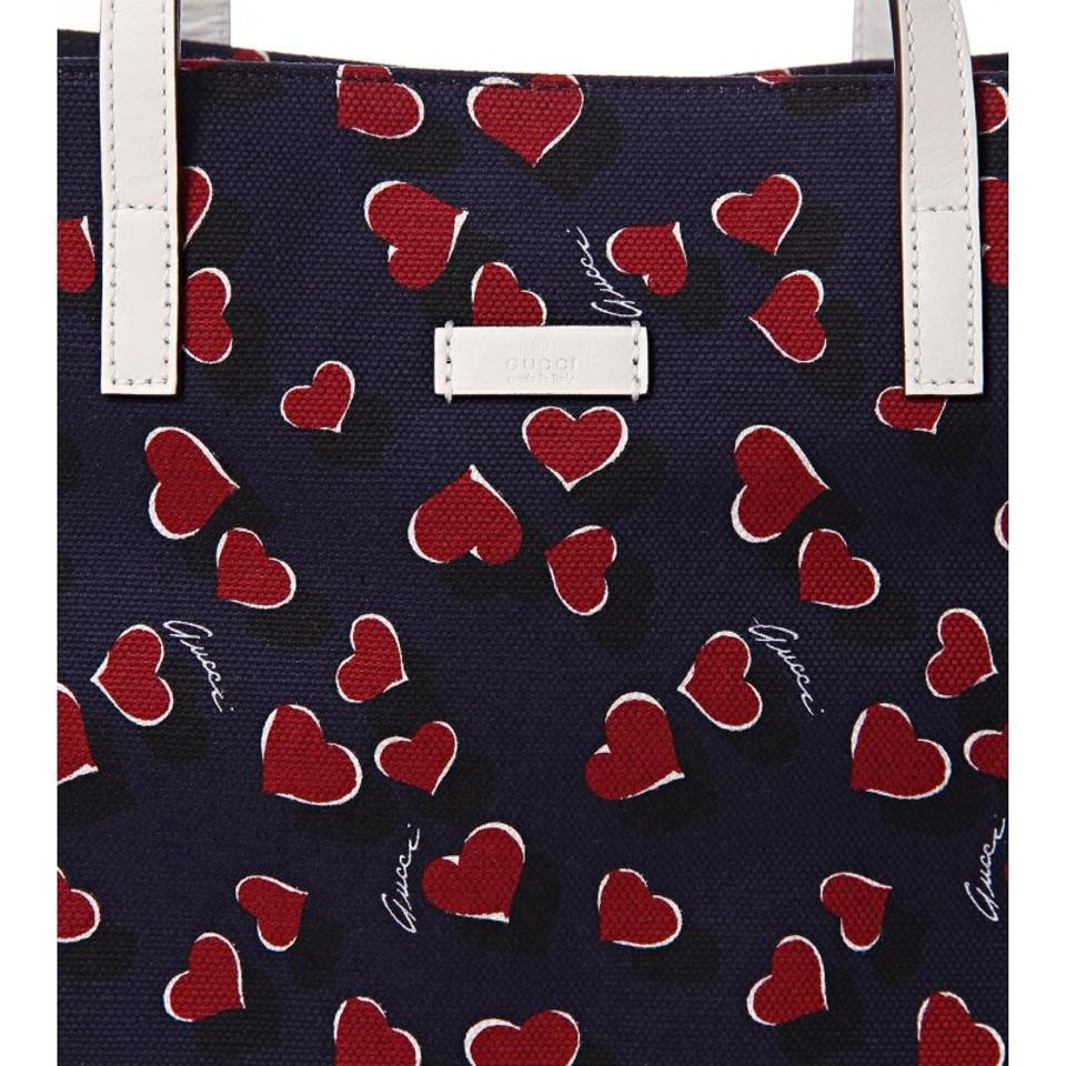 94df3413d0c8ed Gucci Purse Double Strap Heartbeat Canvas 282489 Tote in Navy/Red/White  Image 3. 1234