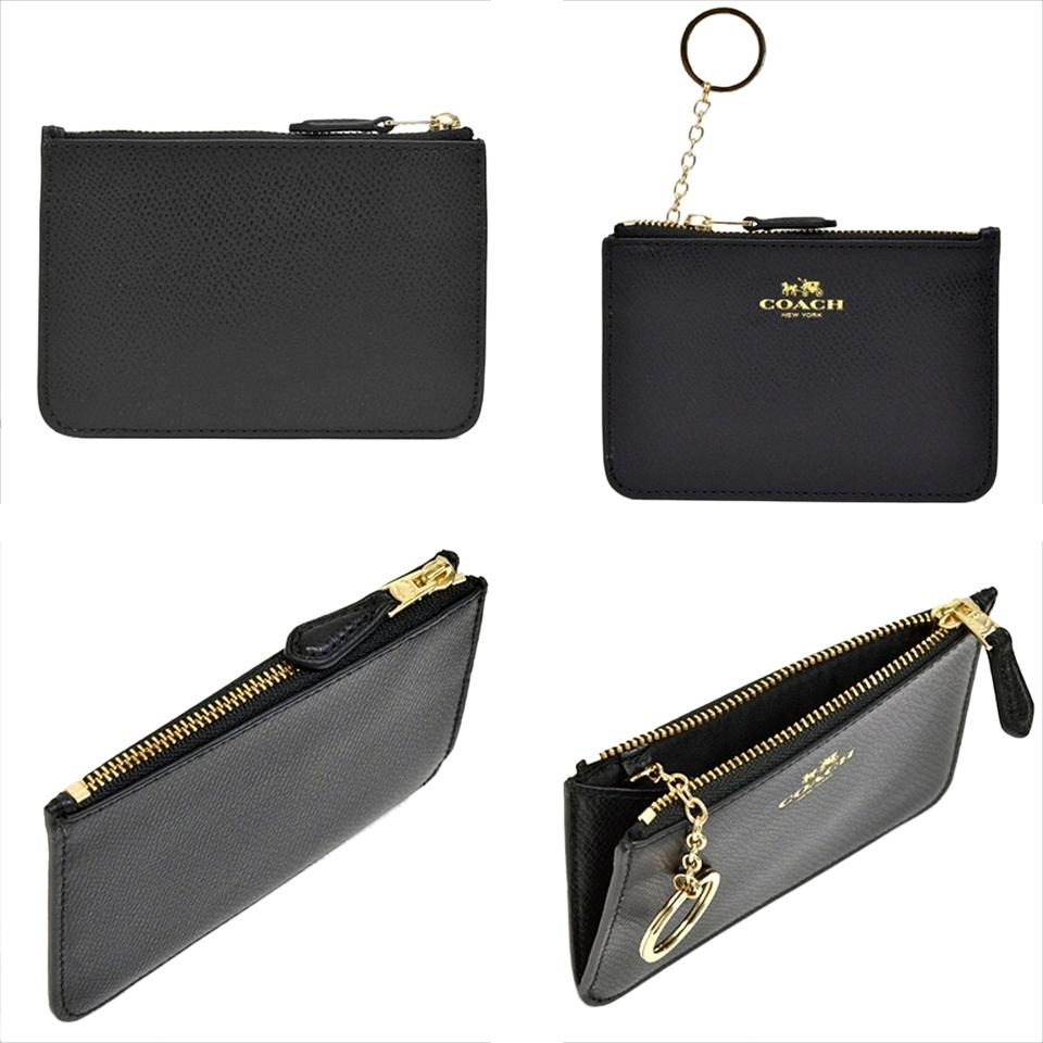 Coach black leather business card case holder key pouch chain coins coach coach leather business card case holder key pouch chain coins purse black colourmoves