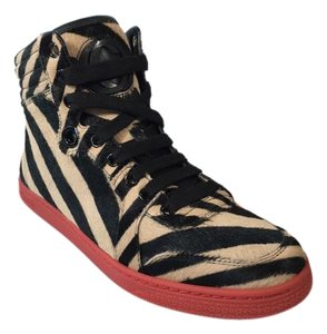 Gucci Beige/black Striped Hi Top Multicolor Athletic
