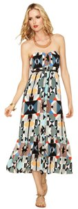 Aztec Maxi Dress by Twelfth St. by Cynthia Vincent Maxi Ruffle Print Strapless Leather Belted