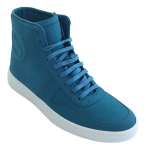 Gucci Hi Top Sneaker Leather Blue Athletic