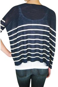 Twelfth St. by Cynthia Vincent Knit Striped Boatneck Crop Sheer Sweater