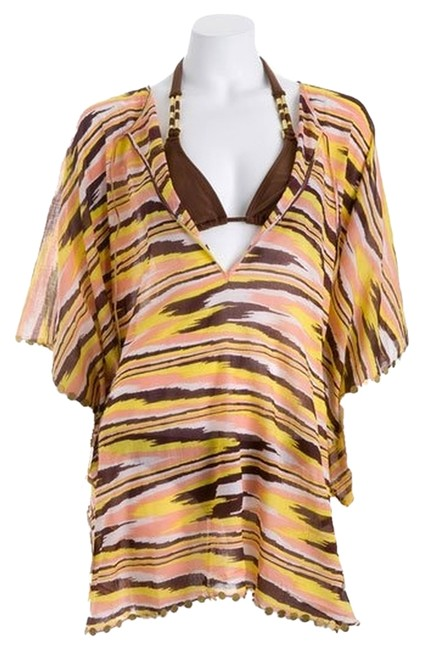 Item - Coral / Yellow / Brown St. Barts Beaded Caftan Cover-up/Sarong Size 4 (S)