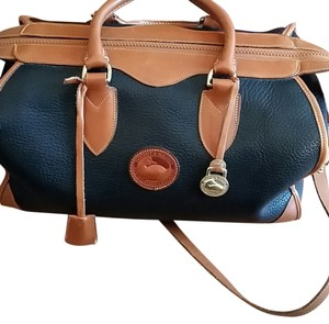 Dooney & Bourke Leather Brass Accents Satchel in Black, Camel trim