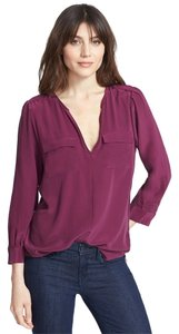 Joie Silk Split Neck Silk Top Shizas (Plum)