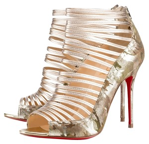 Christian Louboutin Gold Cage Peep Toe Pump Metallic Gold/Camo Boots