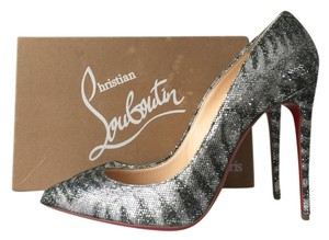 Christian Louboutin Pigalle Follies 100 100mm Silver Pumps