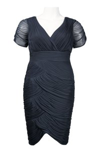 Adrianna Papell Charcoal 081883511 Plus Size Cocktail Reception Bridesmaid Mob Dress