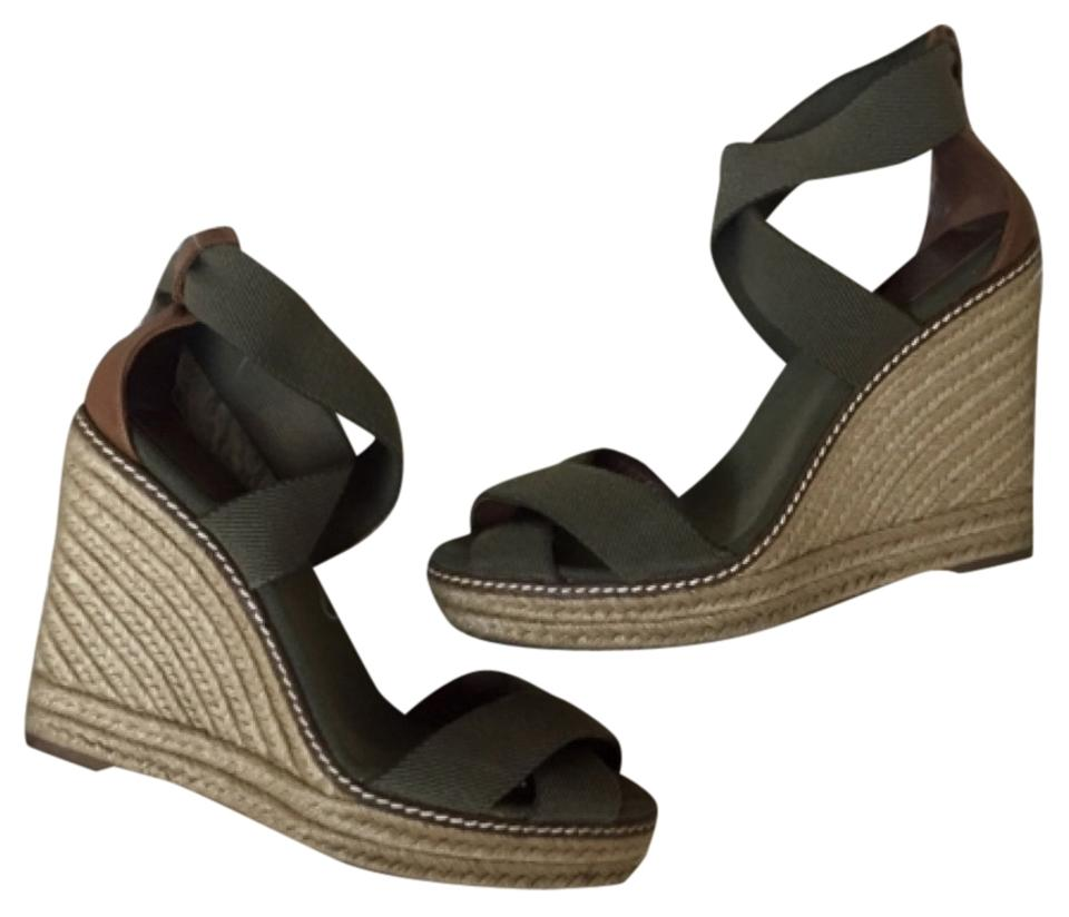 Tory Burch Wedges Olive Green Tan Adonis Wedges Burch bb3303