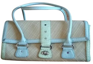 Antonio Melani Leather Satchel in Light Blue & Light Green on Beige woven material