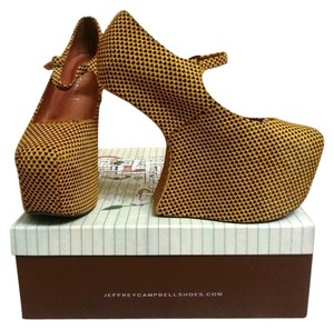 Jeffrey Campbell Nightwalk Pony Hair Hearts Yellow Platforms