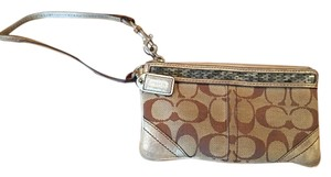 Coach Sequin Wristlet in Tan