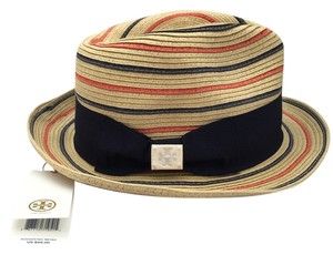 Tory Burch New Tory Burch Natural Striped Fedora