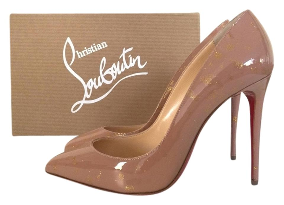 39e6e23f663 Christian Louboutin Nude Pigalle Follies 100 Pollock Gold Splatter Paint Patent  Leather Pumps