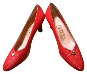 Salvatore Ferragamo Leather Red Pumps