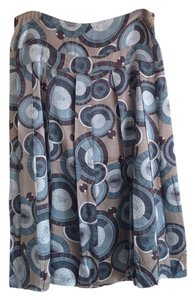 Adrienne Vittadini Silk Multi Tan Blue Bubble Skirt Blue/tan multi