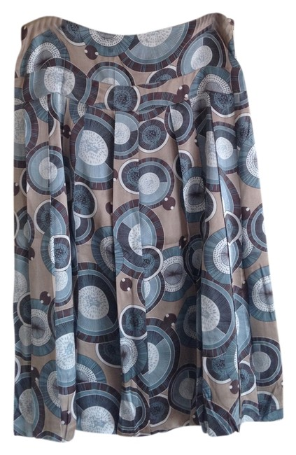 Adrienne Vittadini Silk Bubble Skirt Blue/tan multi