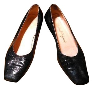 Salvatore Ferragamo Crocodile Black Flats