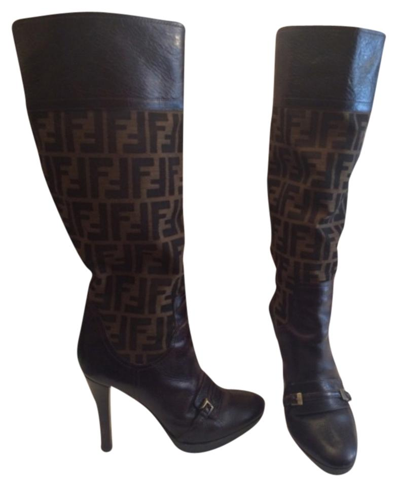 37f0dbea7cc Fendi Monogram Knee High Boots Booties Size US 7 Regular (M