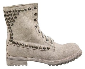 Ash Distressed Studs Leather Combat white Boots